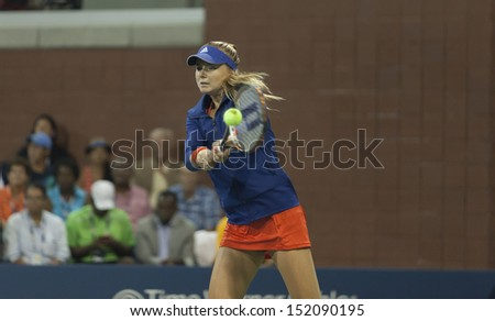 NEW YORK - AUGUST 29: Daniela Hantuchova of Slovakia warming up before 2nd round match against Victoria Duval of USA at 2013 US Open at USTA Billie Jean King Tennis Center on August 29, 2013 in NYC - stock photo