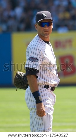 NEW YORK: AUGUST 17 - Derek Jeter stares at the camera at a game at Yankee Stadium on August 17, 2008.