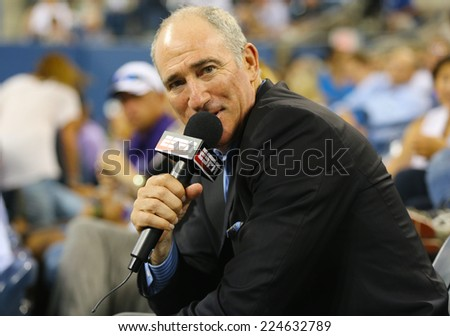 NEW YORK - AUGUST 26 ESPN analyst Brad Gilbert comments match between Serena Williams and Taylor Townsend at US Open 2014 at Billie Jean King National Tennis Center on August 26, 2014 in NY