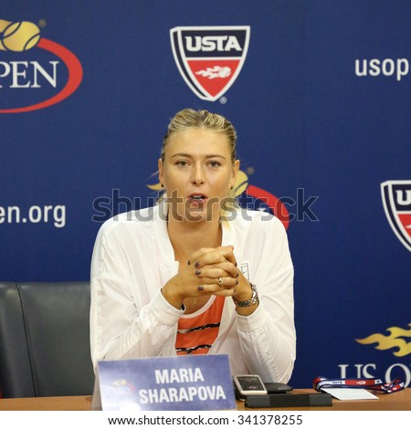 NEW YORK - AUGUST 29, 2015:Five times Grand Slam Champion Maria Sharapova during press conference before US Open 2015. In two days Maria withdraws from US Open with leg injury - stock photo