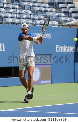 NEW YORK - AUGUST 25, 2015: Fourteen times Grand Slam Champion Rafael Nadal of Spain practices for US Open 2015 at Billie Jean King National Tennis Center in New York - stock photo