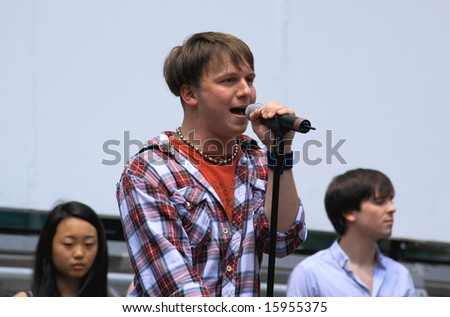 NEW YORK - AUGUST 7: Gerard Canonico performed the Spring Awakening at The Broadway in Bryant Park in NYC - a free public event on August 7, 2008 - stock photo