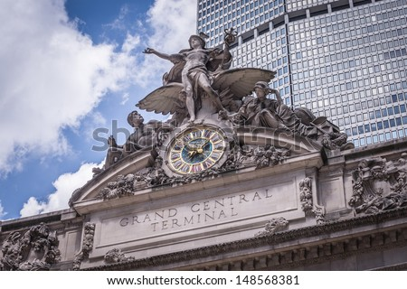NEW YORK - AUGUST 2: Grand Central Terminal on August 2, 2013 in New York. Grand Central Terminal is a commuter rail terminal station at 42nd Street and Park Avenue in New York City, United States. - stock photo