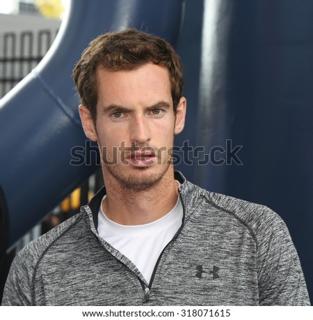 NEW YORK - AUGUST 29, 2015: Grand Slam Champion Andy Murray during interview at  US Open 2015 at Billie Jean King National Tennis Center in New York - stock photo