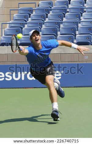 NEW YORK - AUGUST 21: Grand Slam Champion Andy Murray practices for US Open 2014 at Billie Jean King National Tennis Center on August 21, 2014 in New York  - stock photo