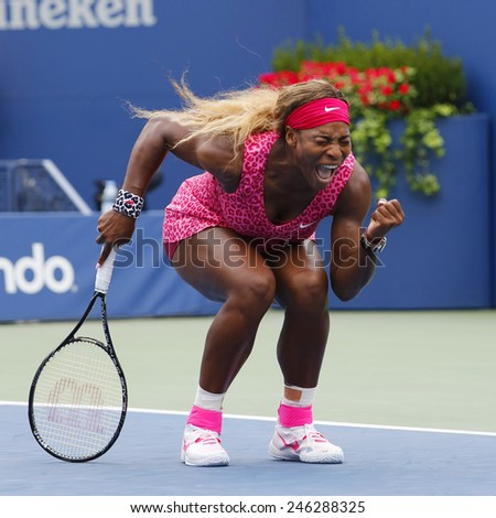NEW YORK- AUGUST 30, 2014: Grand Slam champion Serena Williams during fourth round match at US Open 2014 against Varvara Lepchenko at Billie Jean King National Tennis Center in New York  - stock photo