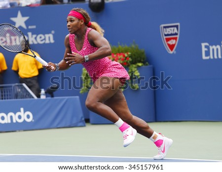 NEW YORK- AUGUST 30, 2014: Grand Slam champion Serena Williams in action during her fourth round match at US Open 2014 against Varvara Lepchenko at Billie Jean King National Tennis Center in New York  - stock photo