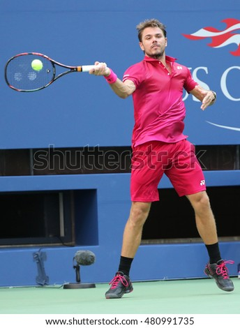 NEW YORK - AUGUST 30, 2016: Grand Slam champion Stanislas Wawrinka of Switzerland in action during his first round match at US Open 2016 at Billie Jean King National Tennis Center in NY