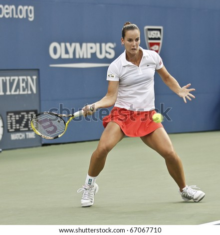 NEW YORK - AUGUST 31: Jarmila Groth of Australia returns ball during first round match against Maria Sharapova of Russia at US Open tennis tournament on August 31, 2010, New York.