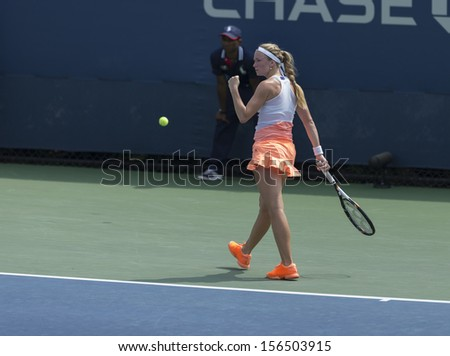 NEW YORK - AUGUST 31: Julia Glushko of Israel reacts during 3rd round match against Daniela Hantuchova of Slovakia at 2013 US Open at USTA Billie Jean King Tennis Center on August 31 2013 in NYC - stock photo