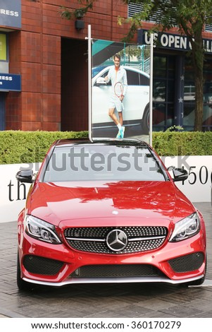 NEW YORK - AUGUST 30, 2015: Mercedes-Benz on display at National Tennis Center during US Open 2015 in New York . Mercedes-Benz is the sponsor and Official Vehicle of the US Open - stock photo
