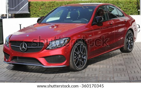 NEW YORK - AUGUST 25, 2015: Mercedes-Benz on display at National Tennis Center during US Open 2015 in New York . Mercedes-Benz is the sponsor and Official Vehicle of the US Open - stock photo