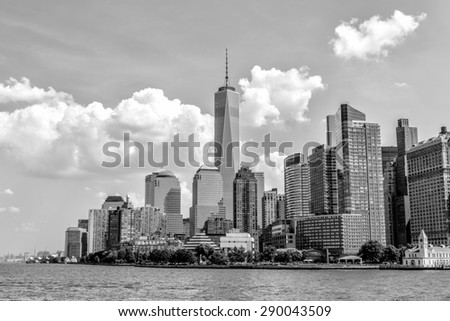 NEW YORK - AUGUST 11: New York City Manhattan skyline on August 11, 2014. Manhattan is the central part of New York. It is one of the worlds leading cultural and economic centers. - stock photo