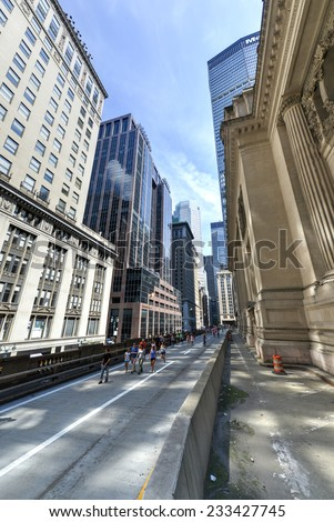 NEW YORK - AUGUST 17, 2013: Park Avenue Viaduct during Summerdays when it was open to pedestrian traffic. - stock photo