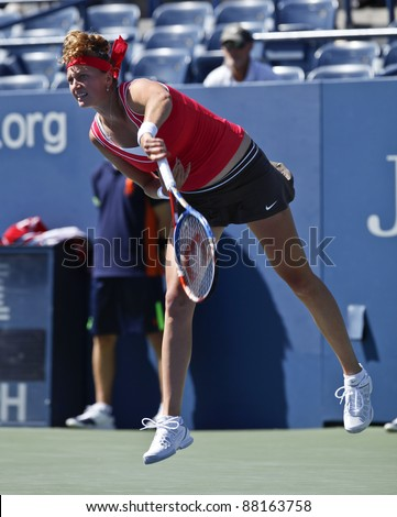 NEW YORK - AUGUST 29: Petra Kvitova of Czech Republic returns ball during 1st round match against Alexandra Dulgheru of Romania at USTA Billie Jean King National Tennis Center on August 29 2011 in NYC