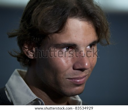 NEW YORK - AUGUST 27: Rafael Nadal of Spain talks to the media during previews at USTA Billie Jean King National Tennis Center on August 27, 2011 in New York City, NY. - stock photo