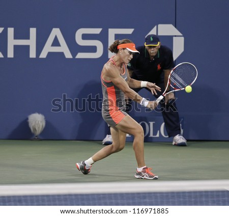 NEW YORK - AUGUST 29: Sam Stosur of Australia returns ball during 2nd round match against Edina Gallovits-Hall of Romania at US Open tennis tournament on Augist 29, 2012 in Flushing Meadows New York