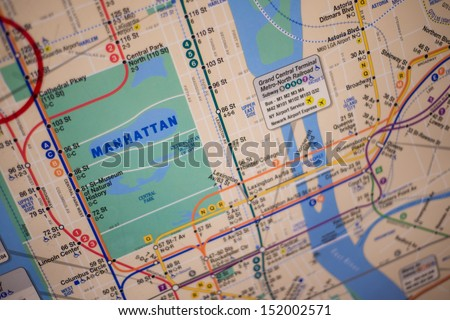 NEW YORK - AUGUST 29: subway map on August 29, 2013 in New York. The New York City Subway is a rapid transit system owned by the City of New York and leased to the New York City Transit Authority. - stock photo
