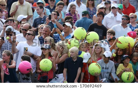 NEW YORK - AUGUST 31: Tennis fans waiting for autographs at Billie Jean King National Tennis Center on August 31, 2013 in New York. US Open is a final Grand Slam tournament of the year - stock photo