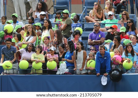 NEW YORK - AUGUST 23: Tennis fans waiting for autographs at Billie Jean King National Tennis Center on August 23, 2014 in New York. US Open is a final Grand Slam tournament of the year  - stock photo