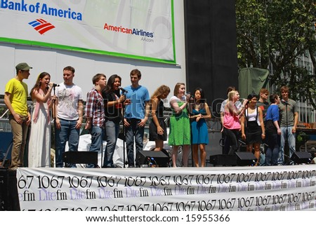 NEW YORK - AUGUST 7: The cast of  Spring Awakening performed at The Broadway in Bryant Park in NYC - a free public event on August 7, 2008 - stock photo