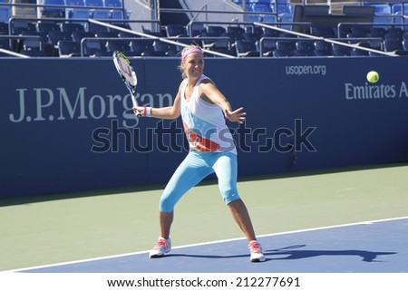 NEW YORK - AUGUST 19: Two times Grand Slam champion Victoria Azarenka practices for US Open 2014 at Billie Jean King National Tennis Center on August 19 , 2014 in New York