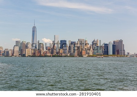 NEW YORK - AUGUST 11: View of New York City Manhattan skyline on August 11, 2014. Manhattan is the central part of New York. It is one of the leading cultural and economic centers in the world. - stock photo