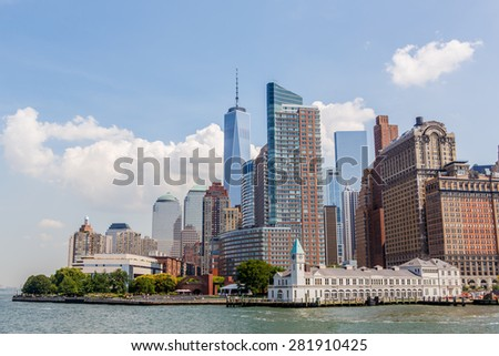 NEW YORK - AUGUST 11: View of New York City Manhattan skyscrapers on August 11, 2014. Manhattan is the central part of New York. It is one of the worlds leading cultural and economic centers. - stock photo