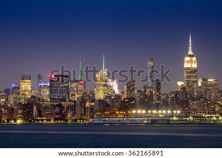 NEW YORK - AUGUST 24: Views of Midtown Manhattan from the J. Owen Grundy Park on New Jersey side on August 24, 2015. This park provides a beautiful view to the Manhattan skyline.