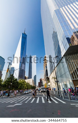 NEW YORK - AUGUST 24: Views of the One World Trade Center Skyscraper in Manhattan Downtown, New York on August 24, 2015. This building complex is in the financial district Downtown Manhattan. - stock photo