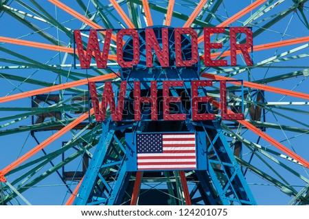 NEW YORK - AUGUST 12: Wonder Wheel located at Deno's Wonder Wheel Amusement Park in Coney Island NY on August 12, 2012. Wonder Wheel was build in 1920 and was declared a historic landmark in 1989 - stock photo