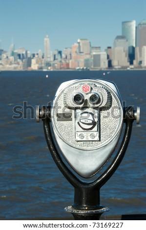 new york bay from liberty island - stock photo