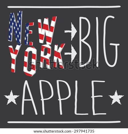 New York Big apple typography poster, t-shirt Printing design,  Badge Applique Label, raster. - stock photo