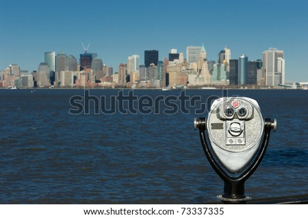 new york, binocular, from the liberty island - stock photo