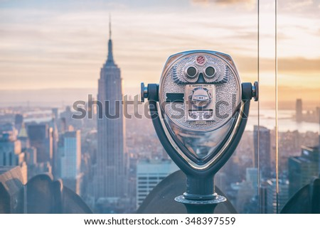 new york binoculars - stock photo