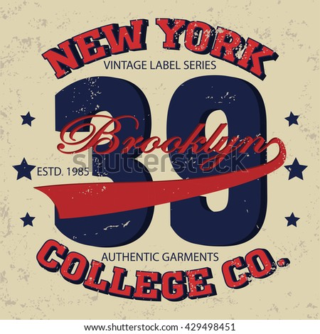 New york Brooklyn typography fashion, t-shirt graphics