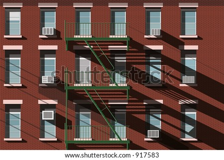 New York Brownstone Facade with Fire Escape - stock photo