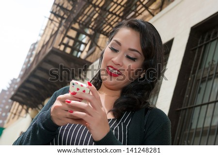 New York business woman texting - stock photo