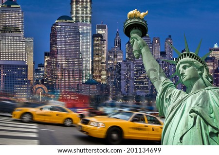 New York by night collage - stock photo