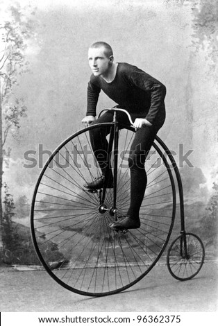 "New York, c1891: World Champion cyclist William Walker Martin, Known as ""Plugger"". 1891 won six-day race at Madison Square Garden NY, billed as long-distance championship of world. - stock photo"