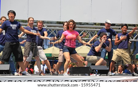 NEW YORK - 17: Carrie Manolakos and others Performed in Mamma Mia! - The Broadway at Bryant Park in NYC - a free public event on July 17, 2008 - stock photo