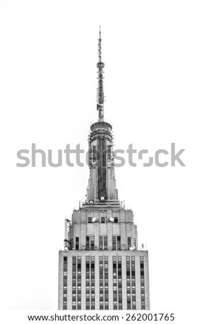 New York, circa dec 2014: top of the famous empire state building view from Manhattan street - stock photo