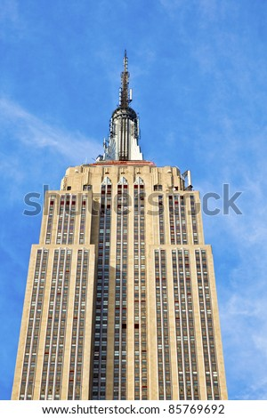 NEW YORK - CIRCA JULY 2010: The Empire State Building circa July 2010 in New York City. After the terrorist attack on 9/11/01, this is the tallest building in New York and 3rd in USA. - stock photo