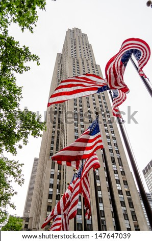 NEW YORK - CIRCA MAY 2013:  Rockefeller Center, NYC, circa May 2013. Rockefeller Center is a complex of 19 commercial buildings, built by the Rockefeller family, located in Midtown Manhattan. - stock photo