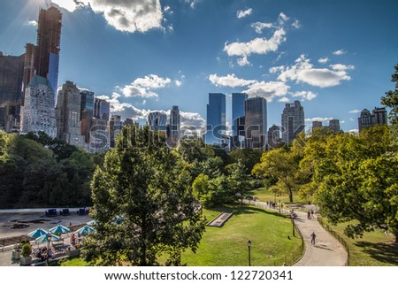 NEW YORK - CIRCA SEPTEMBER 2012: Central Park circa September 2012 in New York City. Central Park is a public park at the center of Manhattan in New York City. - stock photo