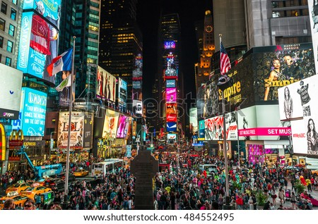 NEW YORK - CIRCA SEPTEMBER 2016: Times Square at night