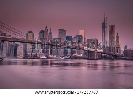 New york citiscape in purple haze - stock photo