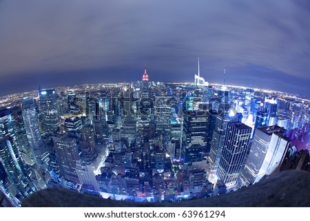 New York City aerial view at night - stock photo