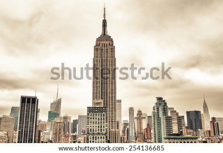 New York City. Aerial view of beautiful Manhattan skyline on summer season. - stock photo