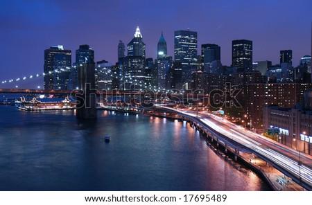 New York City and Brooklyn Bridge - stock photo